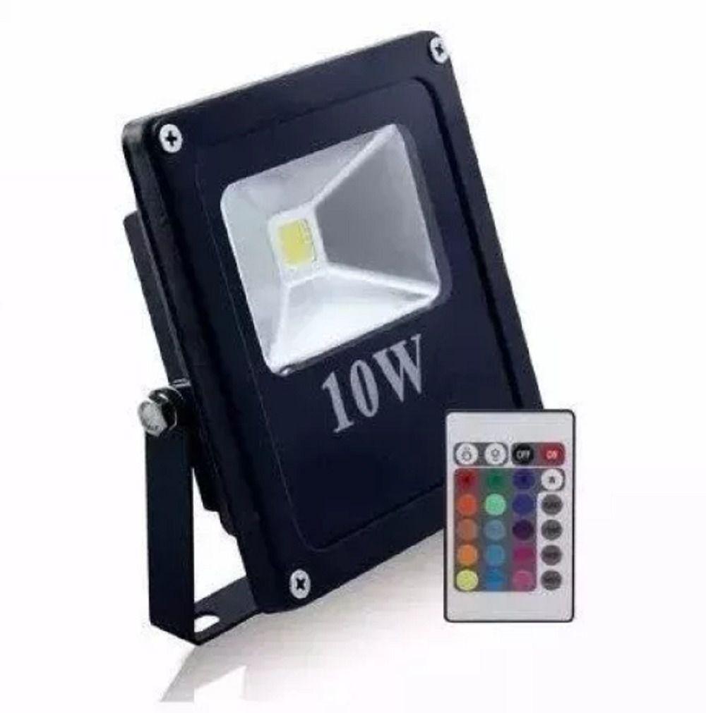 Refletor Holofote Led RGB Prova D'água 10w Bivolt