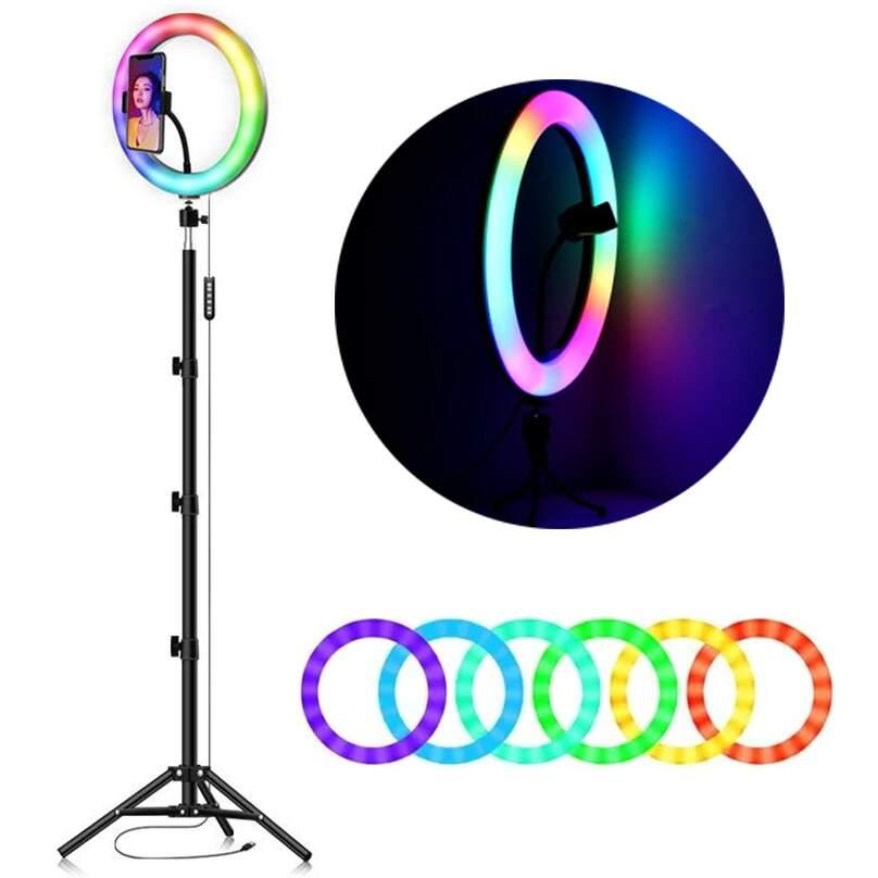 Ring Light Led Iluminador Colorido 26cm - Tripé 2 Metros com Suporte de Celular