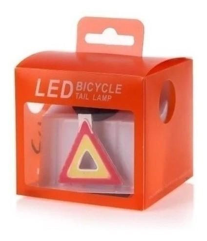 Sinalizador Traseiro Triângulo Bike Luz Led Recarregável