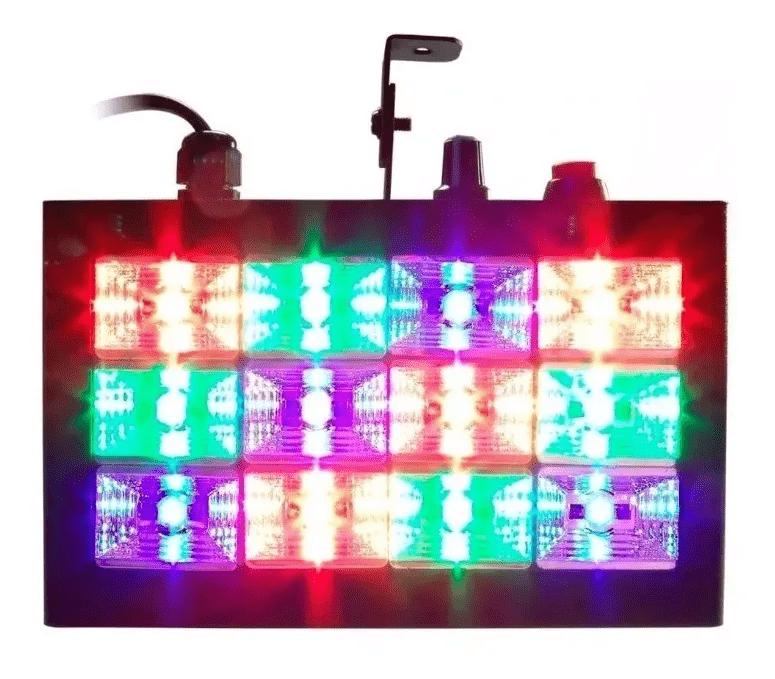 Strobo Flash Jogo de Luz 12 Leds Coloridos RGB LK-186