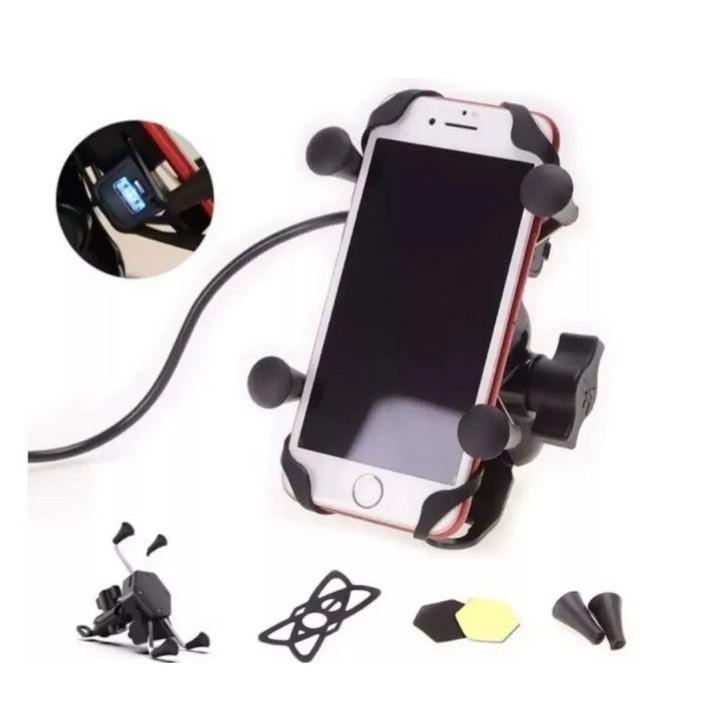 Suporte Aranha Garra Celular Moto Universal Com Carregador Usb