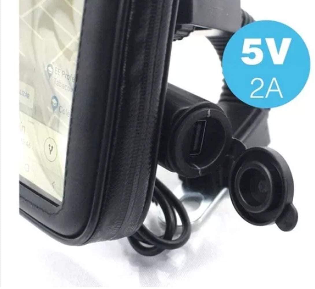 Suporte Celular Moto Carregador Usb C/case Prova D'agua 360°