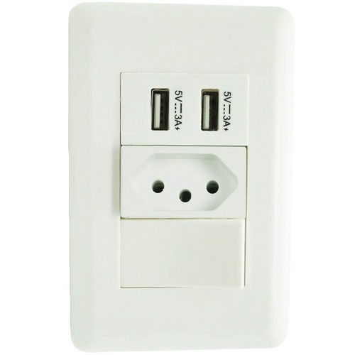Tomada de Energia para Parede com Interruptor de 2 Usb 5v 3a Bivolt