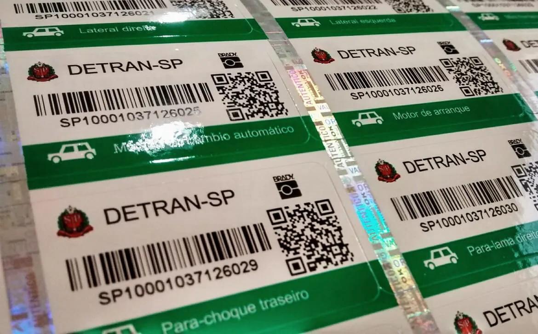 Cartela de Etiquetas do Detran SP - Veículos Leves  - LUC