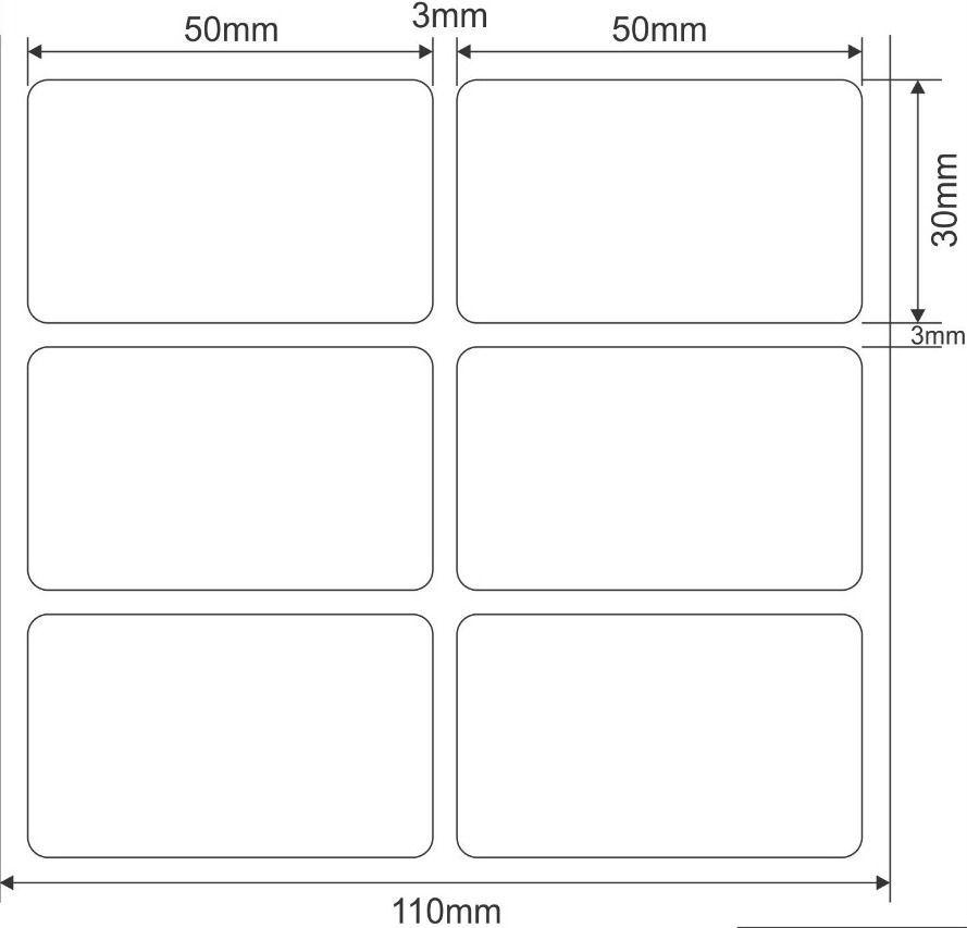 Etiqueta com Cola BOPP  50x30mm - (Fileira Dupla) - 45m   - LUC