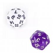 Kit Com 2 Dados 30 Faces - D&d Rpg Dungeons Branco Roxo Dado