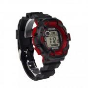 Relógio Honhx Wr30m Vermelho E Preto Resistente A Água