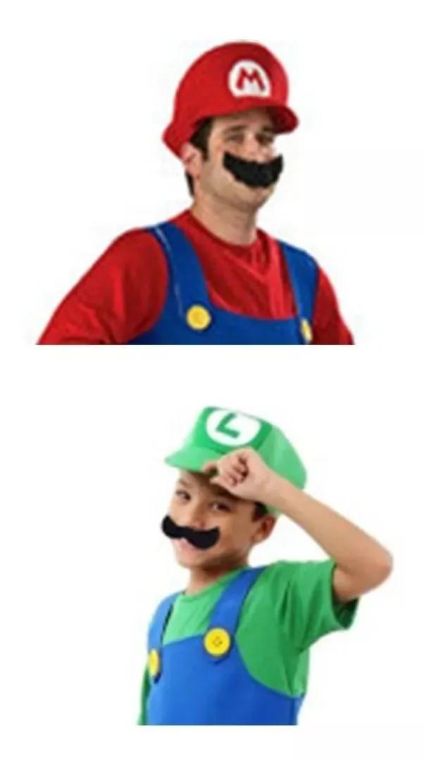 Conjunto Com 2 Bigodes Super Mario Bros Luigi Alta Qualidade