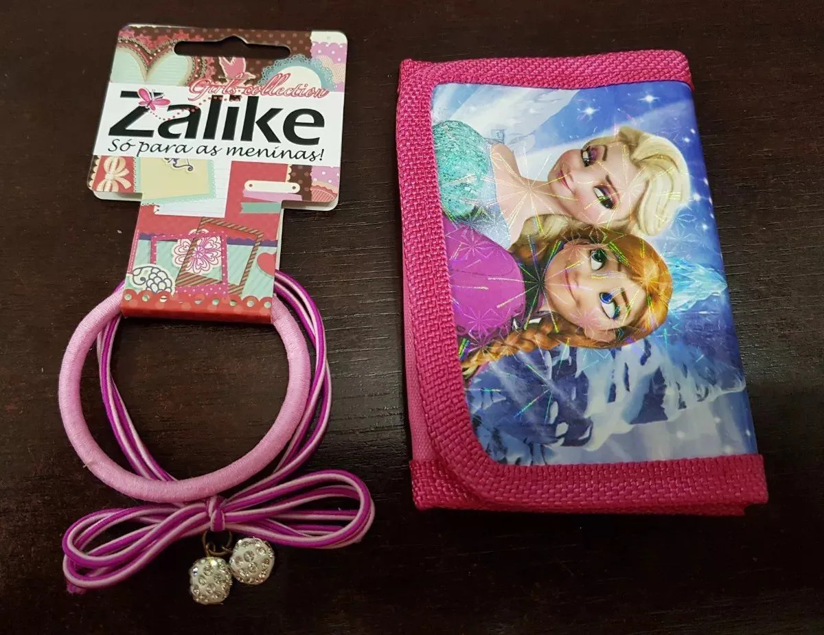 Kit Com 2 Elásticos Cabelo + Carteira Froozen Meninas Zalike