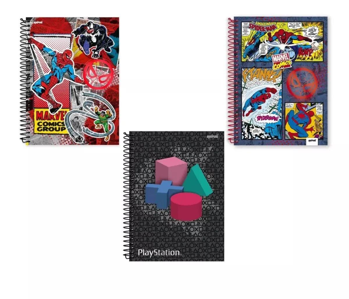 Kit Com 3 Cadernos Capa Dura 1/4 Com 96 Folhas Espiral Novo