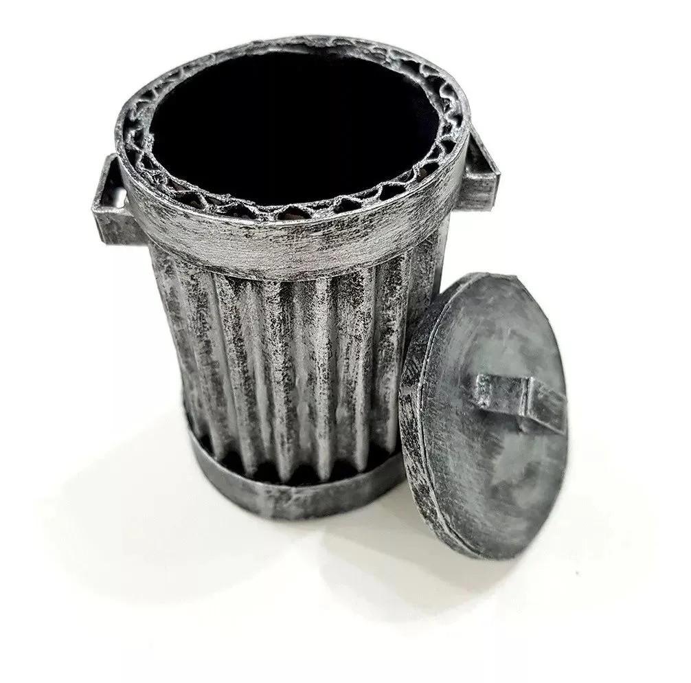 Lixeira Americana Lata De Lixo Latão Diorama 1/10 Modelismo