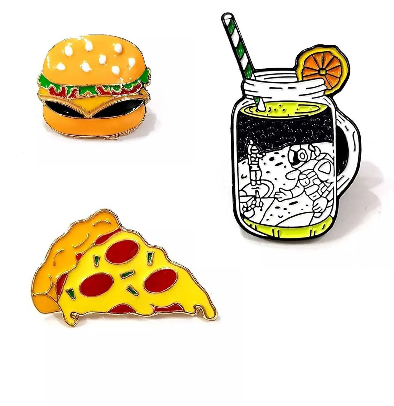Pin Boton Broche Comida Hamburguer Pizza Limonada Food