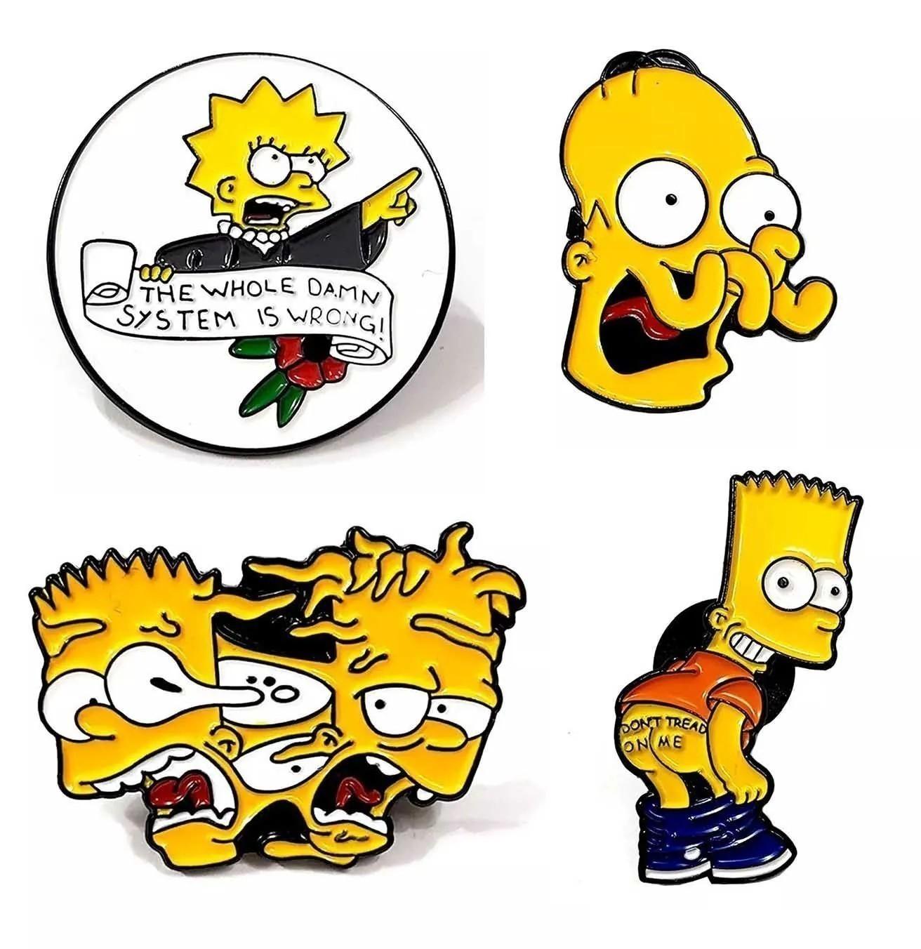 Pin Boton Broche Os Simpsons Série Tv Bart Homer Marge Lisa