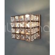Arandela cubo cobre com cristais K9 10cm  x 11cm Old Artisan