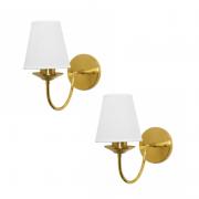 Kit 2 arandelas Nina clássicas douradas com cúpula em tecido para área interna