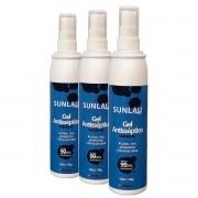 Kit 3 álcool em gel 70% Spray higienizador bactericida para as mãos Sunlau