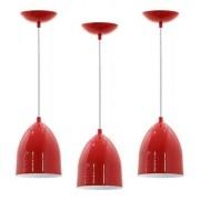 Kit 3 Pendentes para cozinha / sala de jantar Lisboa vermelho e branco para 1x lâmpada E-27