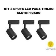 KIT 3 Spots LED para Trilho Eletrificado preto em metal 7W 3000K Ø50 x H.116 x L.88mm