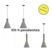 Kit 4 Pendentes para balcão em alumínio cinza / cobre
