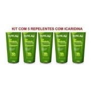 Kit 5 Repelentes Sunlau Icaridina 20% 10horas De Proteção