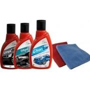 KIT Limpeza Automotiva 3 - Clean car, Siligel silicone em gel, Limpa Pneu gel + 2 flanelas - Henlau
