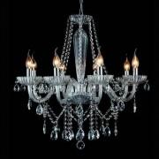 Lustre De Cristal Sala, Cozinha, Sala De Estar clássico Maria Tereza Anjou 8 braços transparente em vidro 68cm x 218cm 8XE14 - TR JF018C Bella Iluminação