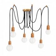Pendente Luminária Aranha industrial em alumínio verniz cobre para 6 lâmpadas E27 140cm x 12,5cm