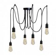 Pendente Luminária Aranha industrial em alumínio preto fosco para 6 lâmpadas E27 140cm x 12,5cm