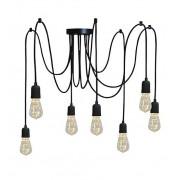 Pendente Luminária Aranha industrial em alumínio preto fosco para 7 lâmpadas E27 140cm x 12,5cm