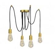 Pendente Luminária Aranha industrial em alumínio verniz ouro para 4 lâmpadas