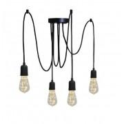 Pendente Luminária Aranha industrial em alumínio preto fosco para 4 lâmpadas E27 140cm x 12,5cm