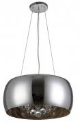 Pendente de vidro metalizado e cristais  50 cm