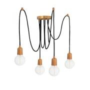 Pendente Luminária Aranha industrial em alumínio verniz cobre para 4 lâmpadas E27 140cm x 12,5cm