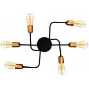 Plafon Retrô industrial alumínio preto fosco/cobre para 6 lâmpadas E27 de filamento 51cm x 43cm