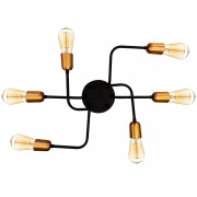 Plafon Luminária Retrô Alumínio 6 Lâmpadas Filamento