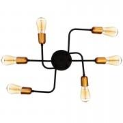 Plafon Retrô para 6 Lâmpadas Filamento Preto com Cobre