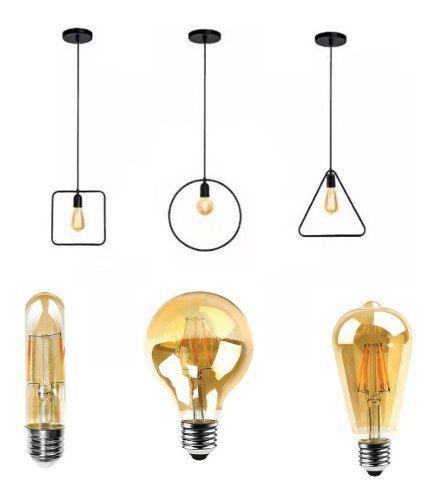Kit 3 Pendentes Retrô Dourado + 3 Lâmpadas De Filamento