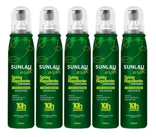 Kit 5 Repelentes Spray Sunlau Icaridina 20% Protege 10hs