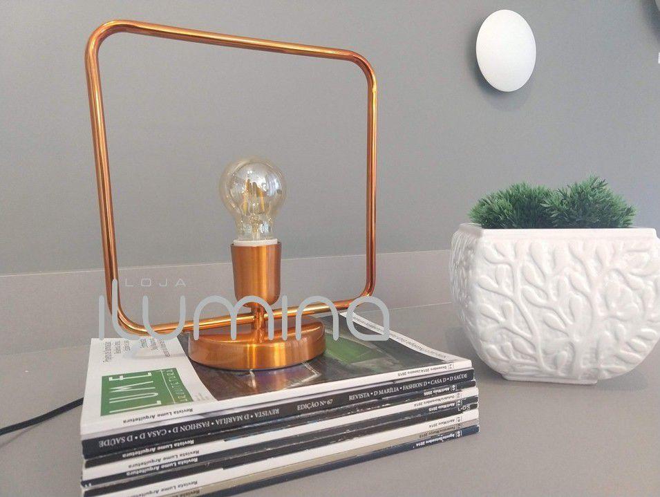 Luminária de mesa abajur Retrô quadrado cobre em alumínio 250mm x 280mm para 1 lâmpada E27