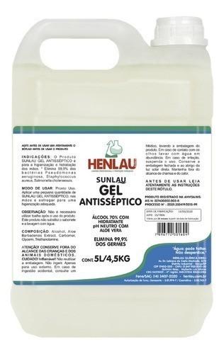 Álcool em Gel Higienizador para as mãos Antisséptico  galão 5 litros Henlau