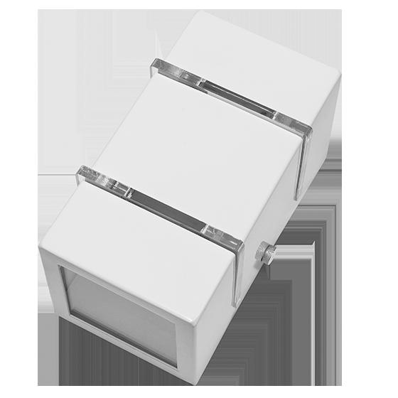 Arandela 2 fachos e 2 Frisos pequena alumínio branca para 1 Lâmpada G9 8cm x 8cm x 15cm Incolustre