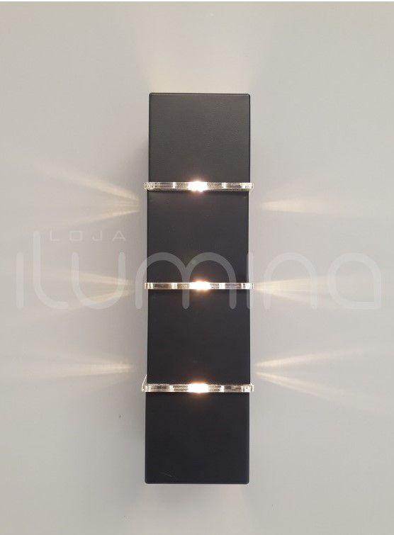 Arandela 2 fachos e 3 frisos alumínio preto área interna e externa para 3 Lâmpadas G9 8cm x 8cm 30,5cm Incolustre