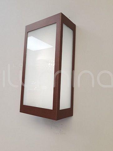 Arandela Retangular 3 vidros Aço Mini 02 A FE Incolustre para 1 lâmpada E27 12cm x 23cm x 7cm