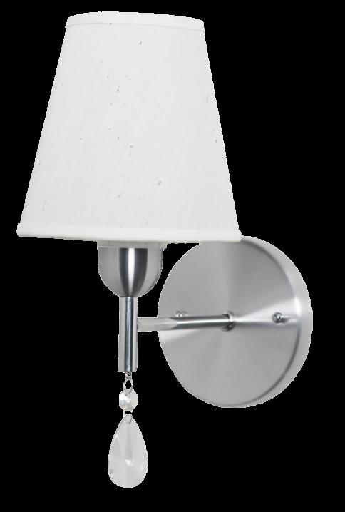 Arandela clássica Bianca aço escovado com cristal e cúpula em tecido branco