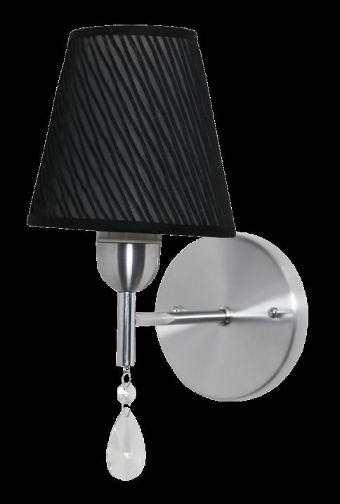 Arandela clássica Bianca aço escovado com cristal e cúpula em tecido preto