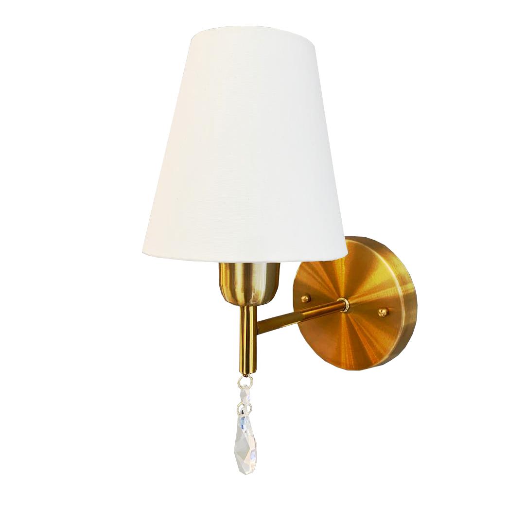 Arandela clássica Bianca dourada com cristal e cúpula em tecido off white