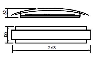 Arandela Interna Courbe 1PCI LED 6W 2700K 127V ou 220V 363X122X62mm 336LEDBT