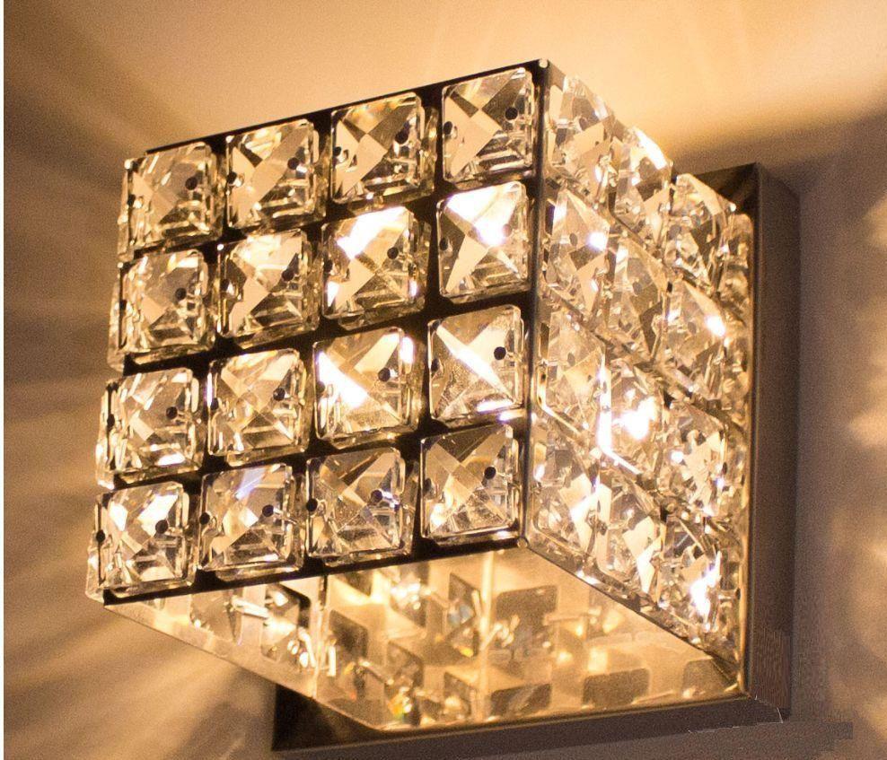 Arandela Interna efeito cubo  11cmx 11cm cristais K9 p/ lâmpada G9
