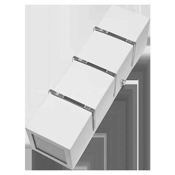 Arandela 2 fachos e 3 frisos alumínio branca para 3 Lâmpadas G9 8cm x 8cm 30,5cm Incolustre