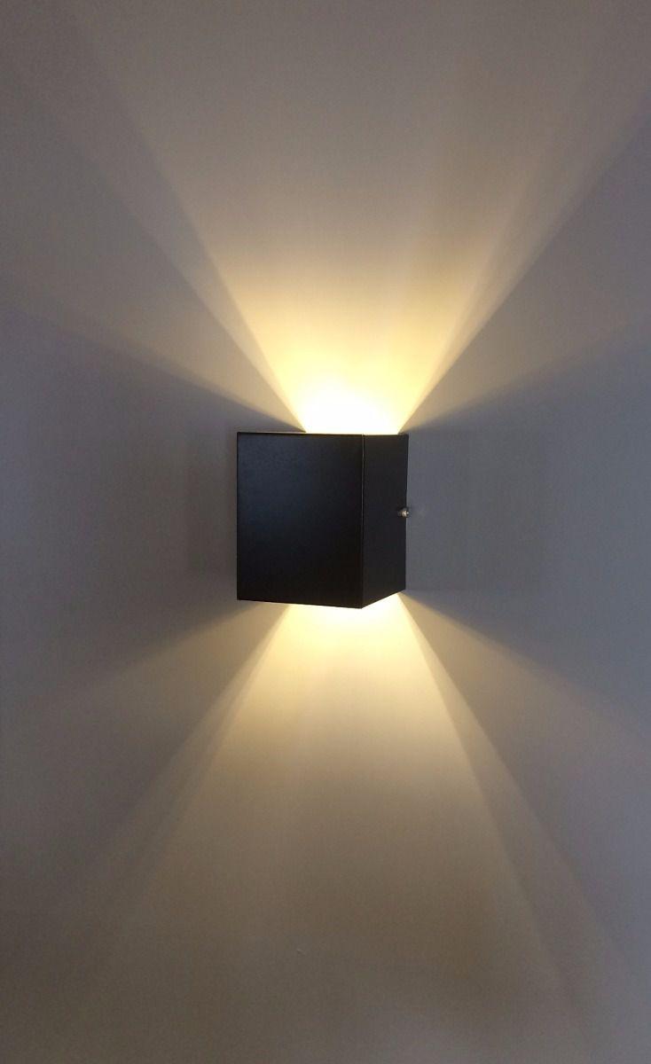 Luminária Arandela Preta dois fachos em alumínio para 1x Lâmpada G-9 H12cm x L10cm x Prof10cm